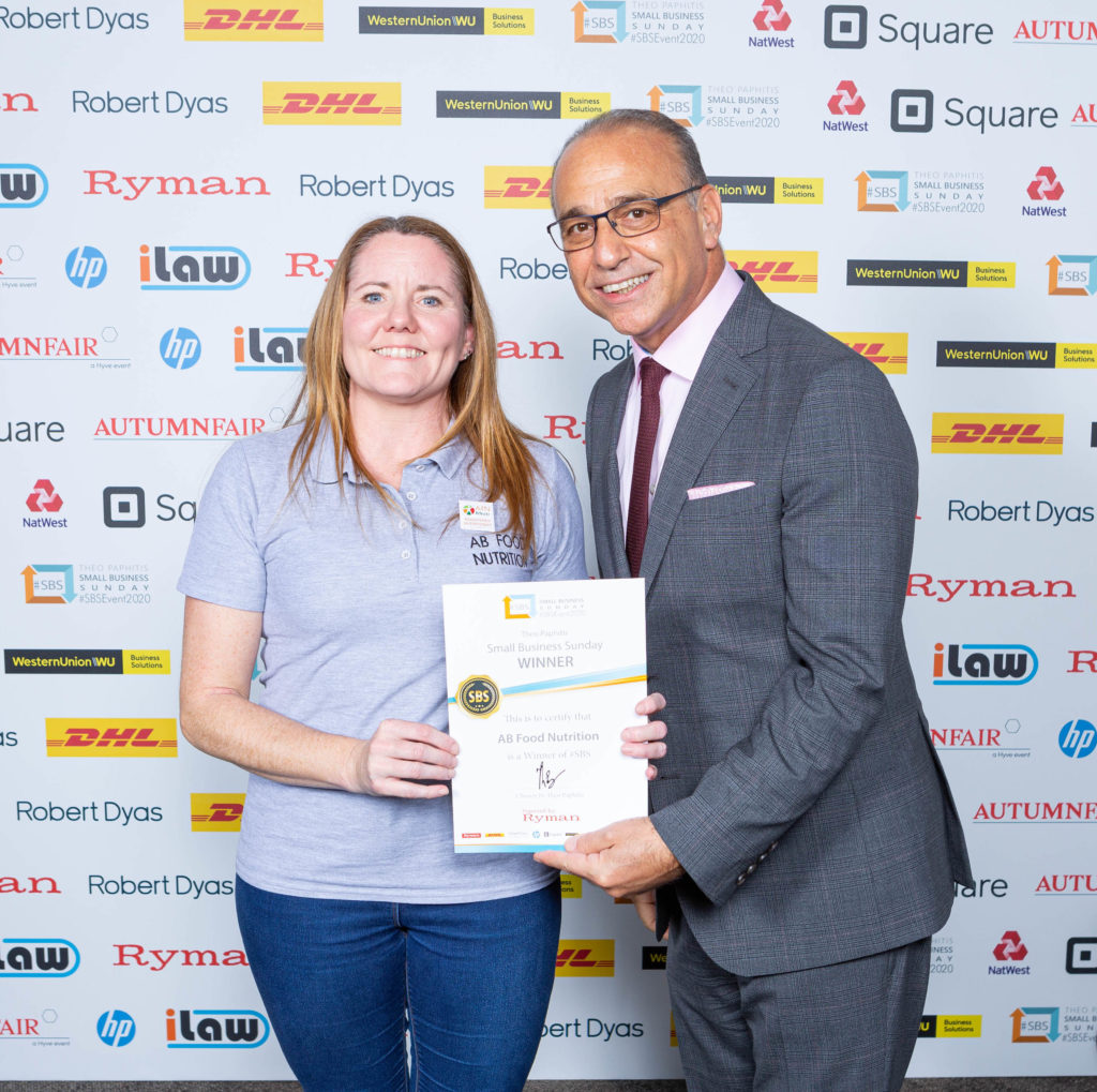 Anne from AB Food Nutrition collecting SBS Winners certificate from Theo Paphitis